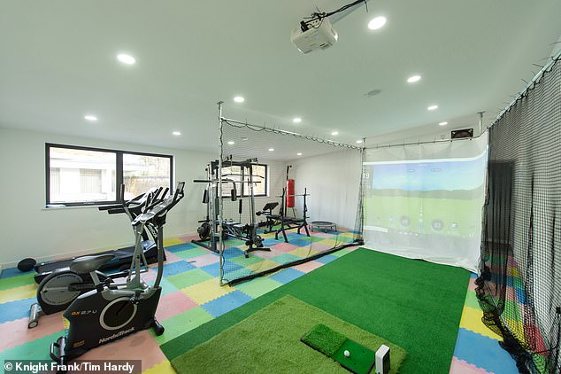 Playtime at home: There is a gym and a virtual golf simulator
