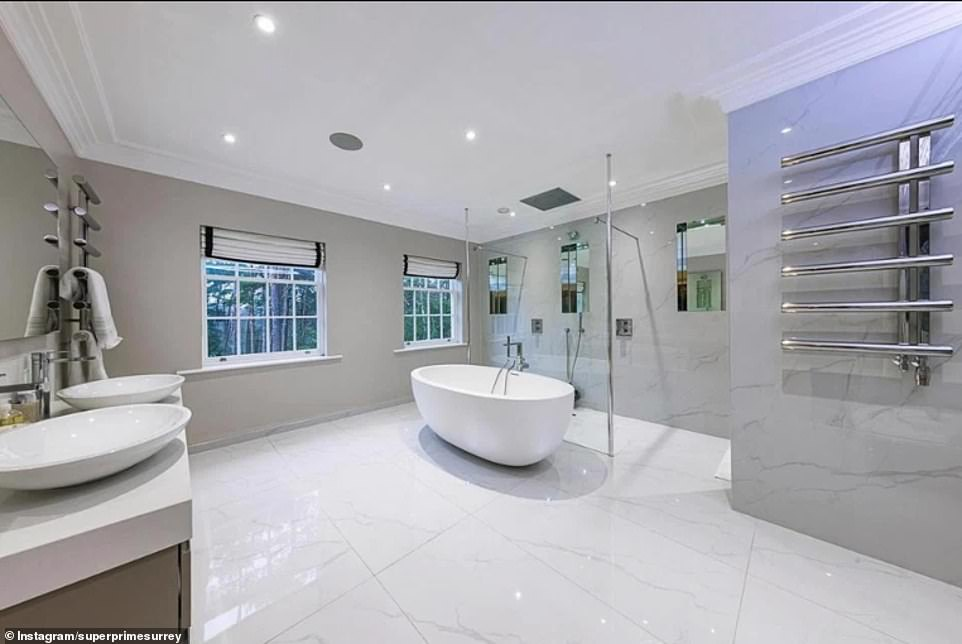 Spacious:The lavish home boasts six bathrooms, five reception rooms, a 'wellness suite' and steam room, plus two acres of gardens and grounds