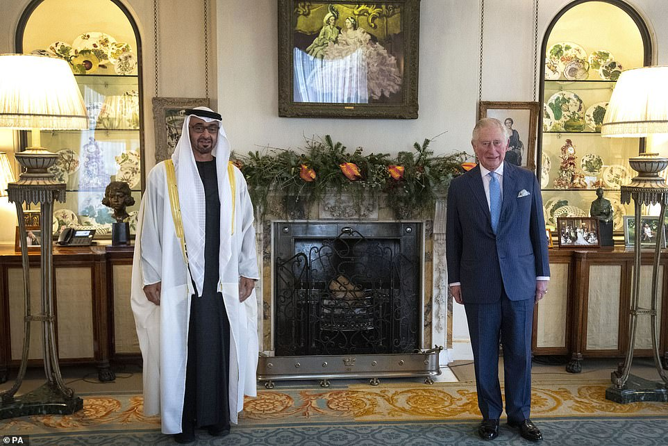 The Prince of Wales offered royals fans a look inside the the Morning Room at Clarence House in a photo released to mark his meeting with the UAE Crown Prince on December 10
