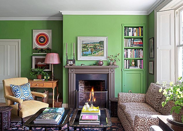 Elegant: Living room walls in Invisible Green byperiod paint specialistEdward Bulmer