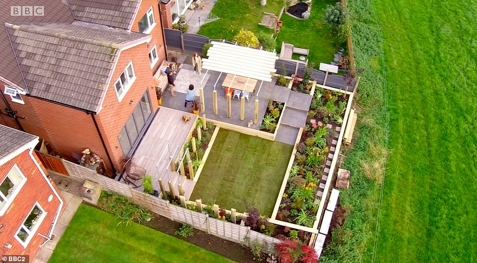 BIRD'S EYE VIEW: The garden following the £30,000 makeover on last night's episode of Your Garden Made Perfect