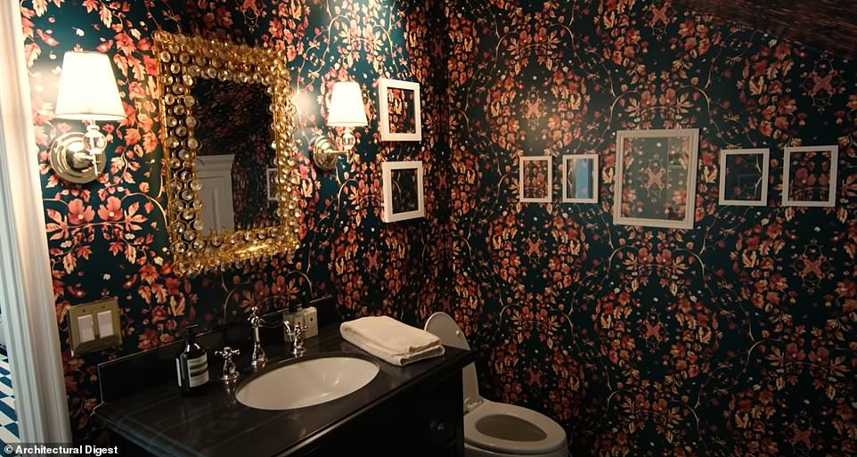 Showing off: She was excited to show off all of her bold wallpaper, calling this one her favorite