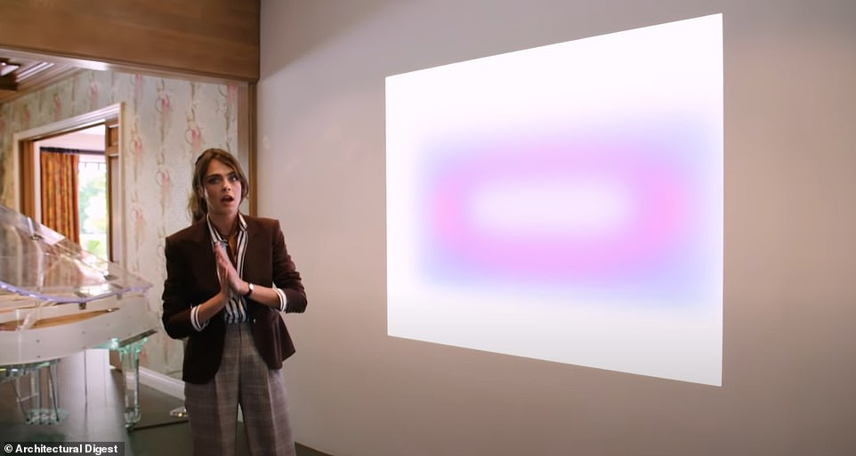 Artsy:Cara's home is full of statement pieces, from Gucci wallpaper to a James Turrell art piece (pictured)