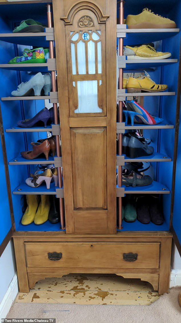 Susanna inherited a wardrobe from her grandparents, where she houses her shoe collection in plastic boxes