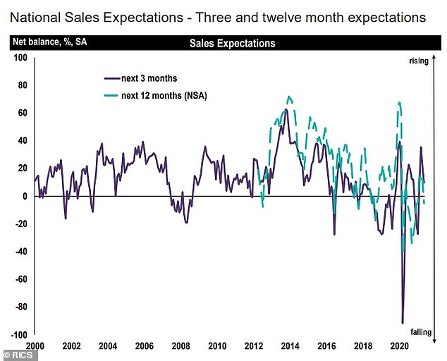 Estate agents' sales expectations for the coming twelve months have now turned flat