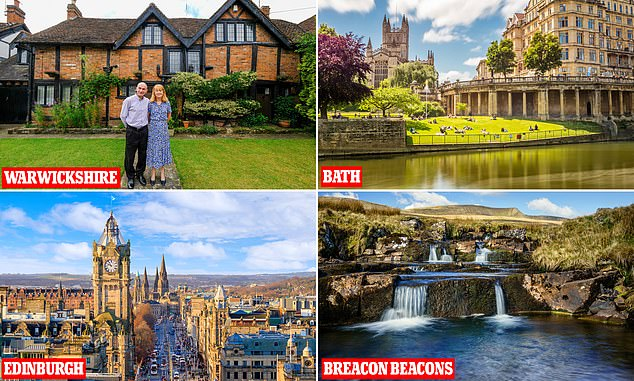 Saving: Simon and Jane Perkin (pictured) – swapping their home in the Midlands for stays in Bath, Edinburgh and the Brecon Beacons