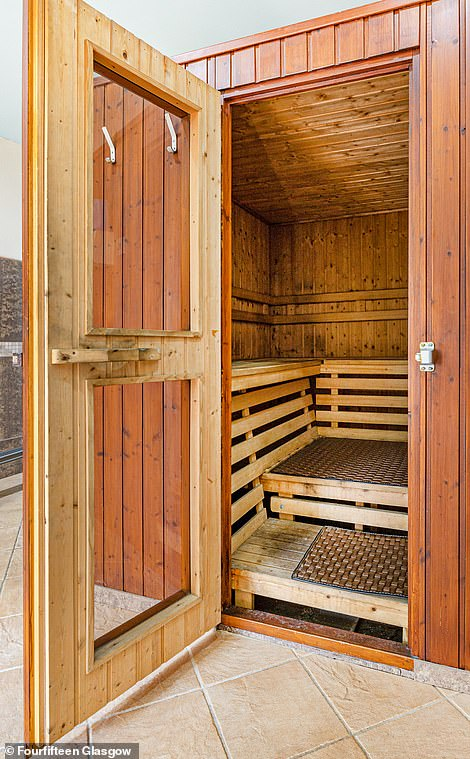 The large sauna can accommodate several people