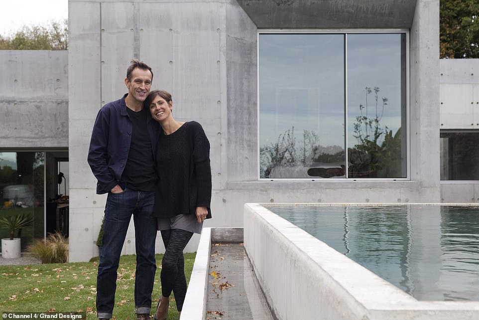 Determined: Adrian and Megan Corrigall originally appeared on Grand Designs in 2018 and return tonight as Kevin McCloud revisits the build to discover how much it has changed - and he is stunned by the results