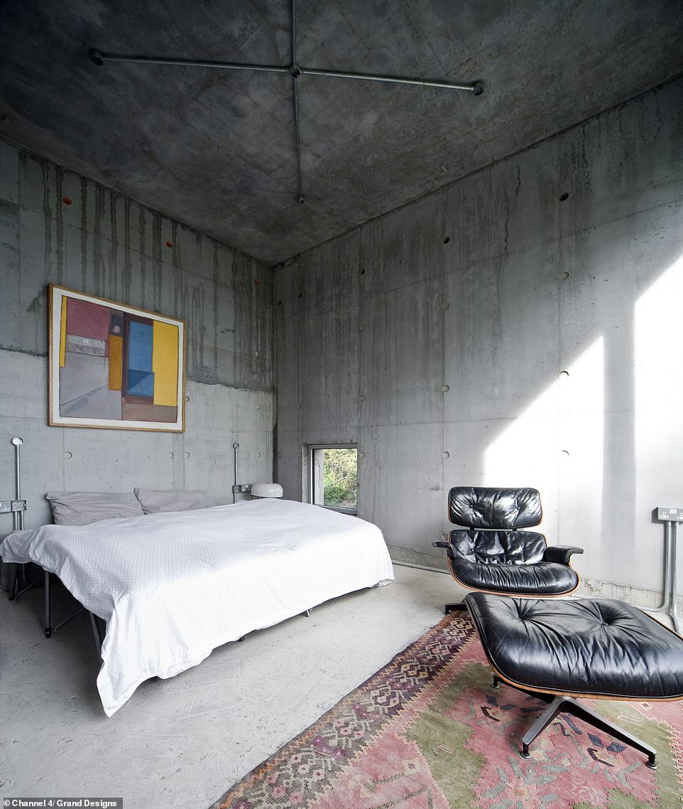 THE MASTER BEDROOM BEFORE: The couple spent £500,000 on the initial site, which included a bungalow that they razed to the ground, to make way for the unique building that featured seven different levels of concrete. When Kevin last visited the property in October 2018 it was not watertight and still had major issues to resolve