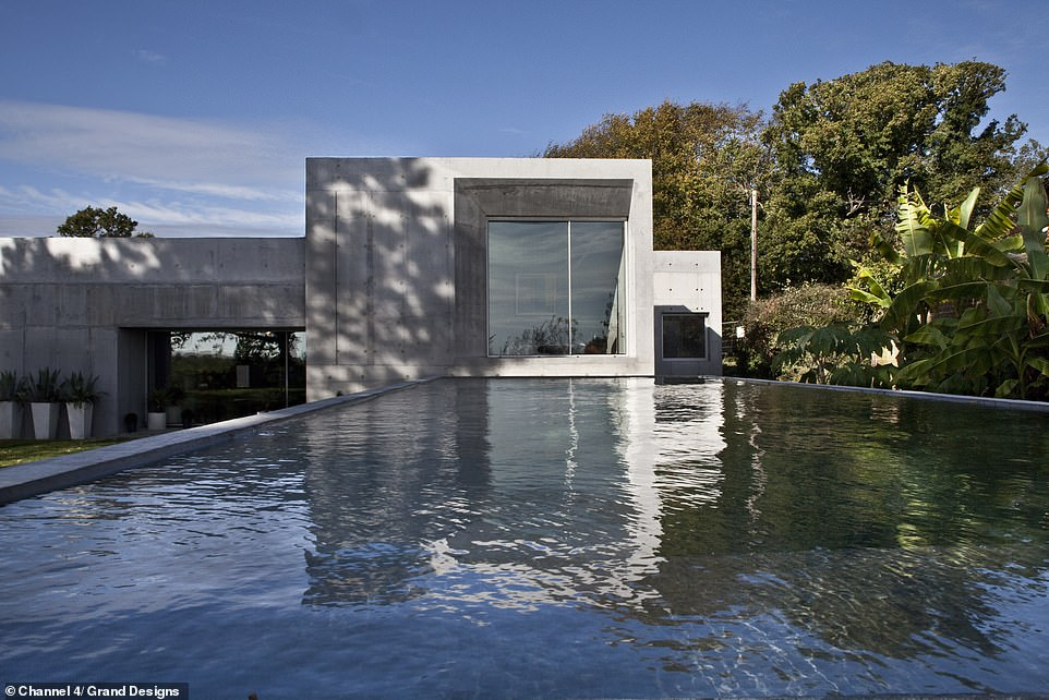 THE GARDEN BEFORE: The outdoor swimming pool was created in a matching concrete setting to the house, each line flush with the angles of the house. Kevin returns to find the garden more mature and perfect for entertaining