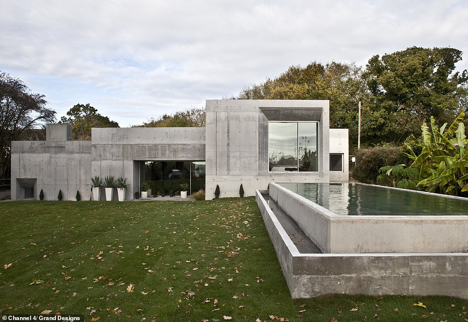 BEFORE: Adrian and Megan Corrigall spent 18 months creating the pioneering four-bedroom family home in Lewes, East Sussex, pictured, almost entirely out of concrete. Pictured, how the project looked when Kevin last visited in October 2018
