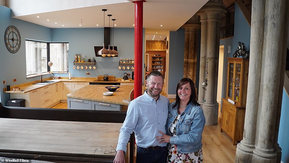 Couple Sean and Debs battle through a catalogue of setbacks in a bid to save a historic church in West Yorkshire (pictured in the church's new kitchen)