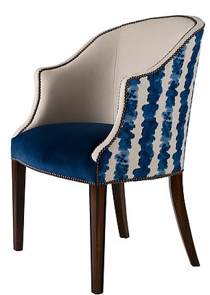 Hot seat: The Phil armchair with eye-catching linen flashes on the back, £1,800