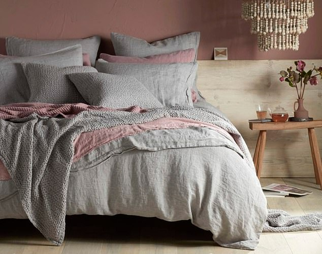 Material gains: Flint grey bed linen. The fabric adds depth and texture to an interior, as well as a natural element to a decor scheme