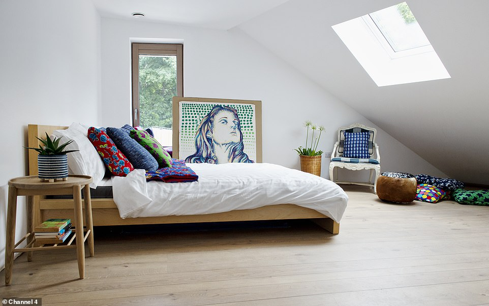 The couple dreamed of creating a unique and modern forever family home with a three bedrooms in which they hoped to raise children (pictured, their guest room)