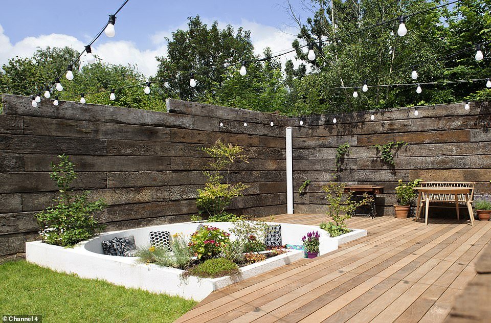 Meanwhile the outside area featured a stunning sunken sofa as well as a huge decking space which the couple said they hoped to host parties on
