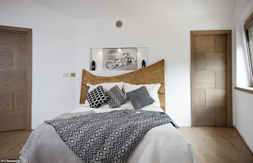 The master carpenter worked tirelessly, and almost single handedly, for 15 months in order to complete the build for his family (pictured, one of the bedrooms)